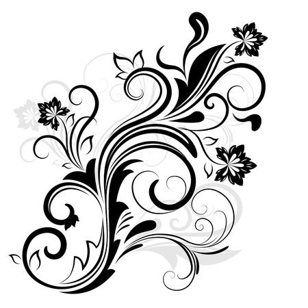黒と白の花柄のデザイン要素を白で隔離されます。