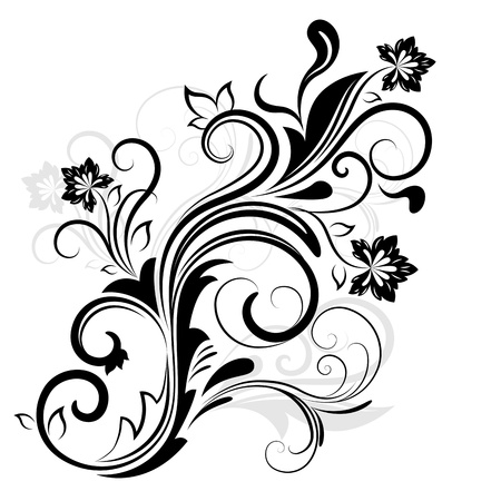 fancy: Black and white floral design element isolated on white.