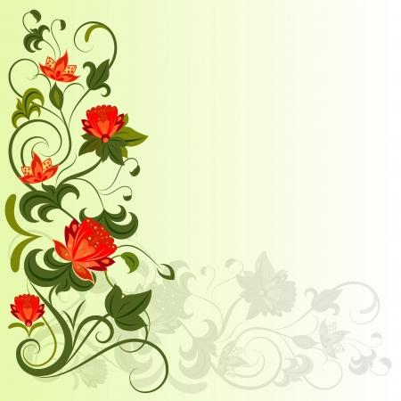Floral corner vector design element with copy space
