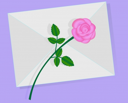 Love  letter with pink rose over it  Illustration
