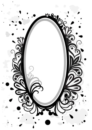 Black and white floral frame with paint splashes  Vector