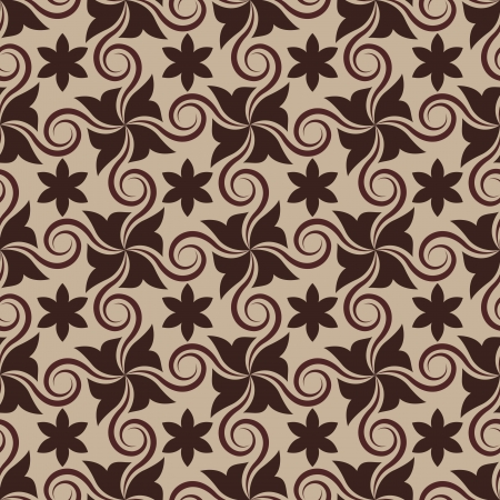 Abstract brown seamless pattern with curls