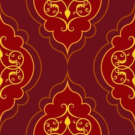 シームレスな赤い単純なダマスク織のベクトル パターン