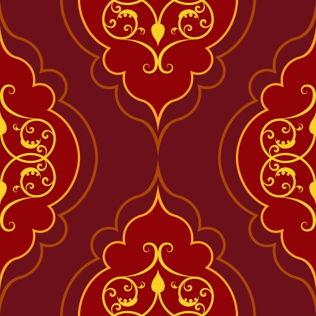 Seamless red simple damask vector pattern  Illustration