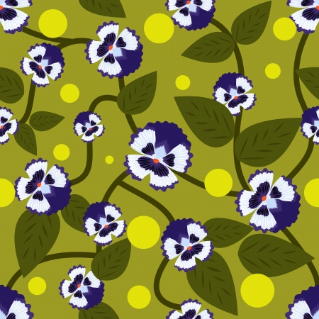 Blue flowers with green leaves seamless vector pattern   Vector
