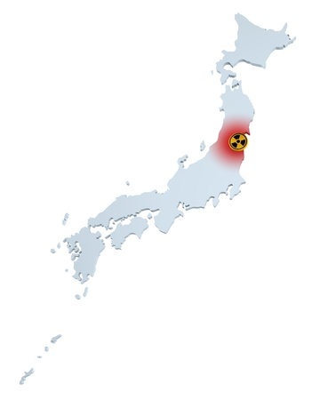 meltdown: Map of Japan with sign of radioactive contamination  Stock Photo