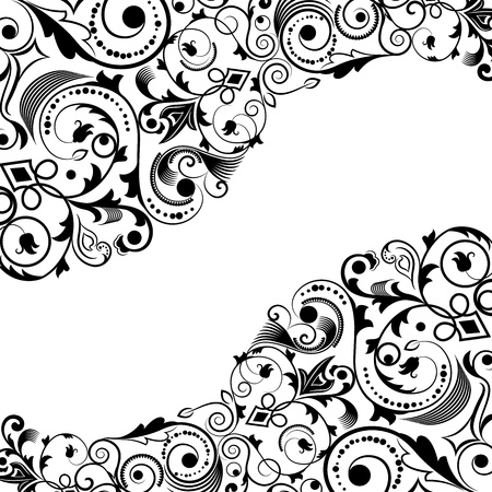 Black and white floral corner vector ornament with copy space. Vector