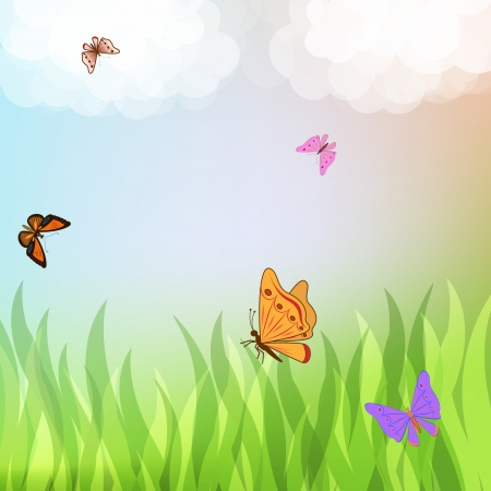 Colorful butterflies flying over green grass vector illustration.  Vector