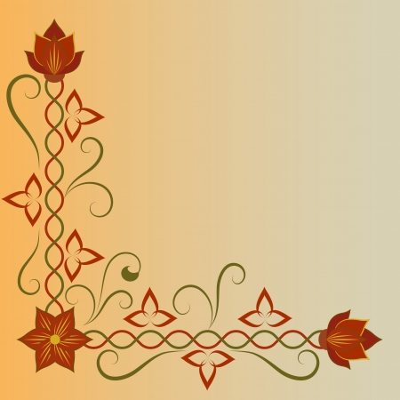 Corner flower ornament with copy space   Vector