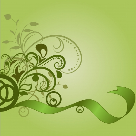 Green floral background with wavy ribbon