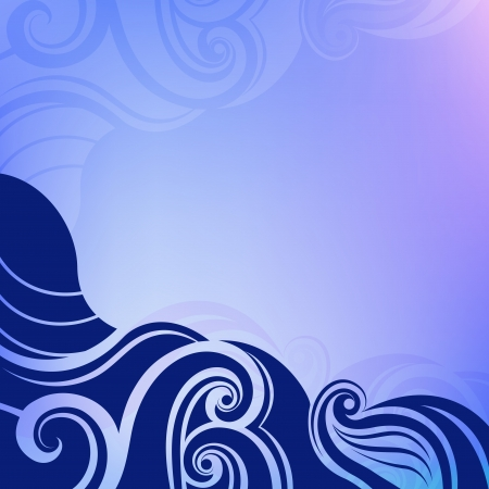 Abstract blue water waves vector background   Illustration