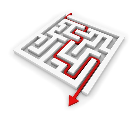 solved maze puzzle: Red arrow going through the maze  Conceptual illustration