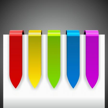色の光沢のある矢印タグ白ページの周り曲がって。メニュー テンプレート。