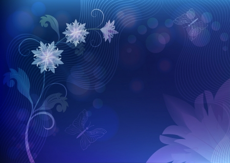 Abstract blue background with flowers and butterflies  Vector