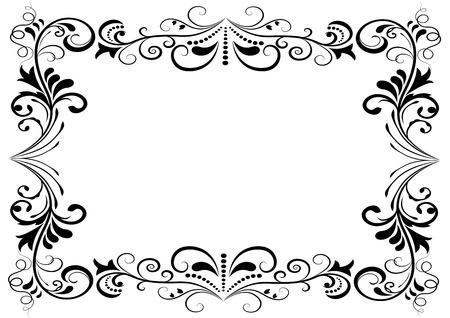 白い背景上に分離されて黒と白の花のベクトルのフレーム