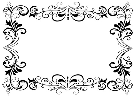 Black and white floral vector frame isolated on white background
