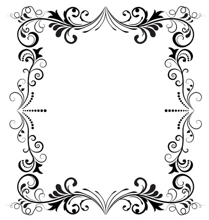 ornamental frame: Black and white vintage vertical vector frame