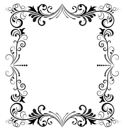 cadre noir et blanc: Noir et blanc vintage frame vecteur vertical