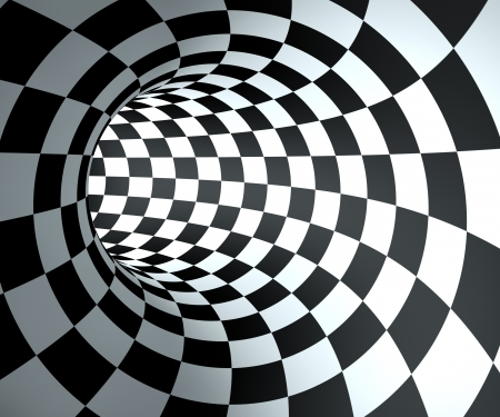 digitally: Abstract round checkered tunnel background.