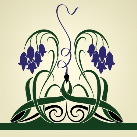 Abstract violet bell flowers  background.
