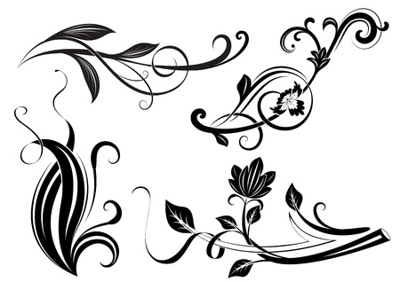 art deco design: Black and white floral branches design elements.