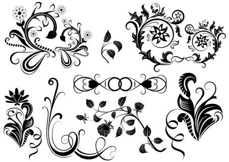 黒と白の花のデザイン要素。