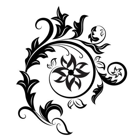 白い背景上に分離されて黒と白の花柄のデザイン要素。