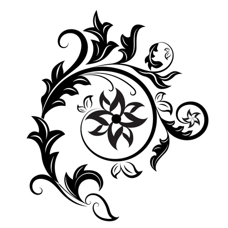 Black and white floral design element isolated on white background.