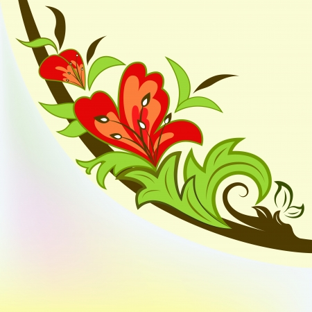 scroll shape: Colorful floral design element isolated on yellow background.