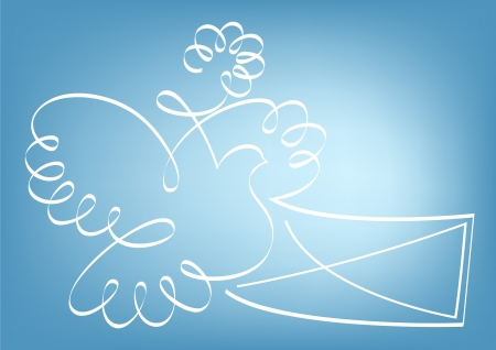 propose: Abstract pigeon carrying letter  illustration.  Illustration