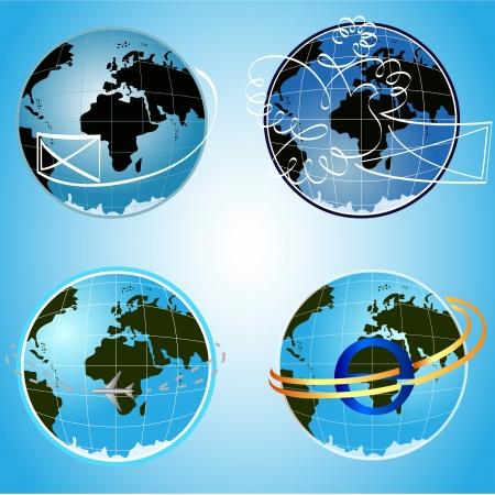 blue globe communication concept symbols. Stock Vector - 15011978