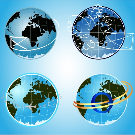 blue globe communication concept symbols.  Vector