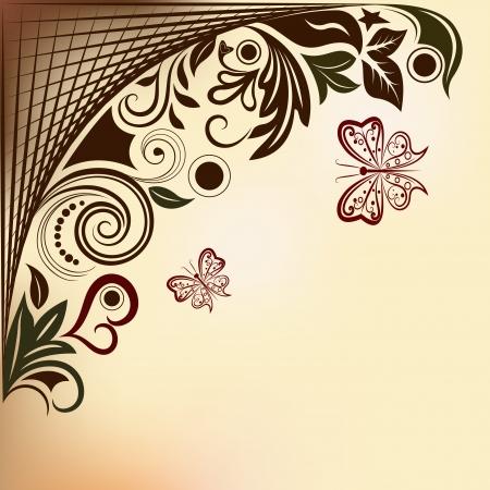 飛行蝶とコピー スペースを持つ花の背景。