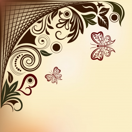 Floral  background with flying butterflies and copy space.  Vector