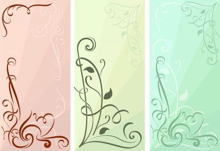 Color floral vertical banners vector set. Vector