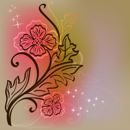 Floral  card with flower outline on colorful background.  Vector
