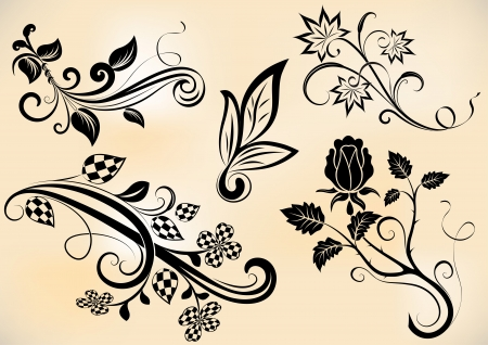 scroll shape: Vintage branches and flowers design  elements.
