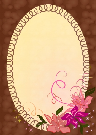 frame with pink flower ornament  Vector