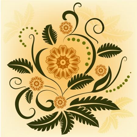 抽象的な観賞用花のデザイン要素
