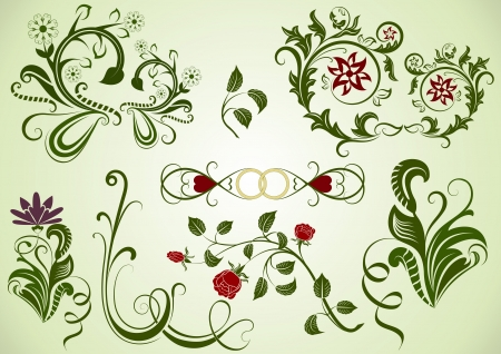 rose bud: Green  swirly floral design elements  Illustration