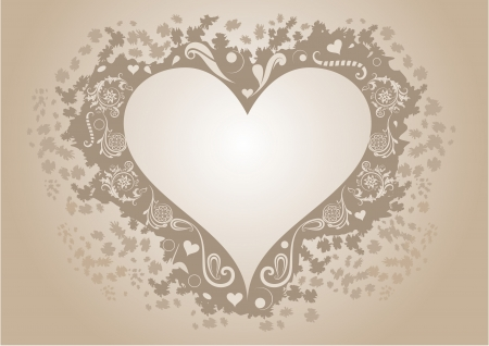 Vintage heart shaped frame with copy space   Vector