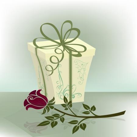 suprise: Present box with purple rose  illustration