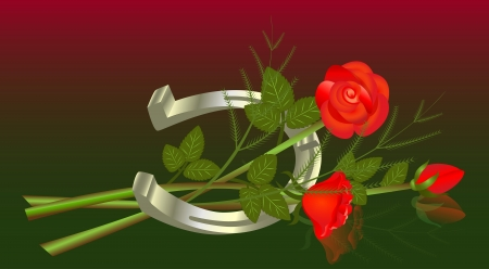 Lying bouquet of roses with horseshoe   Vector