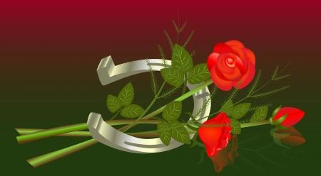 glorioso: Mentir buqu� de rosas com ferradura Ilustra��o