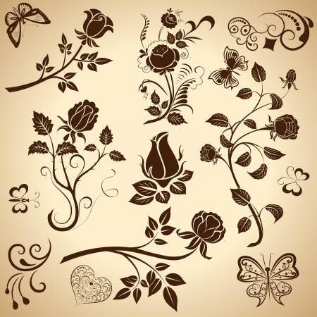 rose butterfly: Rose vintage  design elements isolated on bright background