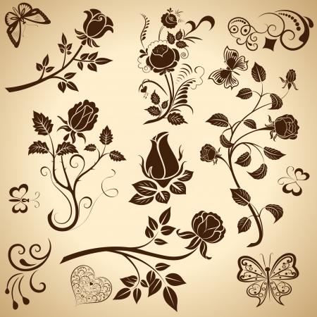 outline flower: Rose vintage  design elements isolated on bright background