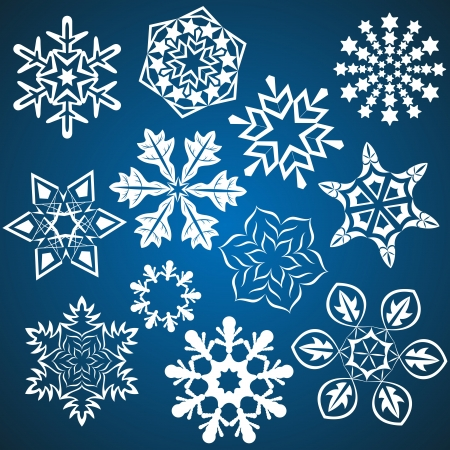 Set of snowflakes isolated on blue background   Stock Vector - 15011931