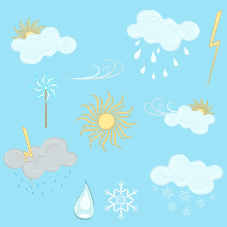 Weather design elements isolated on blue background  Vector