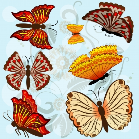 moths: Set of autumn colored butterflies isolated on blue background