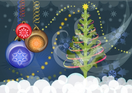 Christmas background with Christmas tree and color baubles  Vector